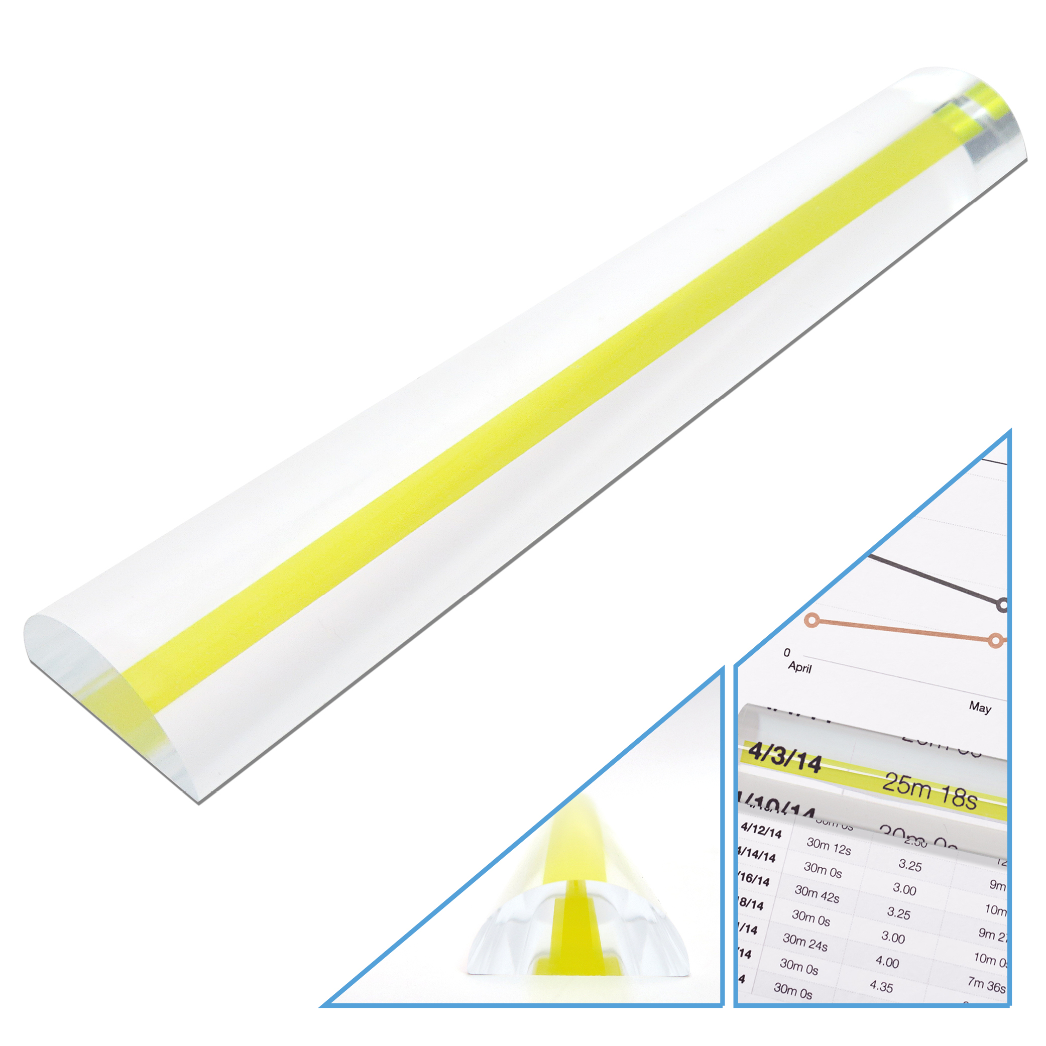 """MagniPros 6"""" Acrylic Bar Magnifier(2x) with Yellow(Comfy for your eyes) Guiding Line-Ideal for Reading & Low Vision"""