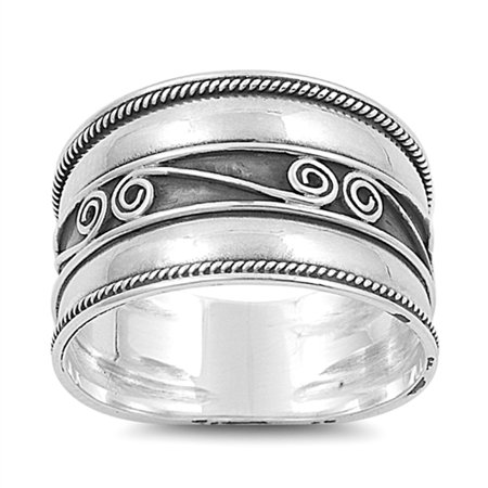 Bali Rope Swirl Polished Wide Thumb Ring New 925 Sterling Silver Band Size 6 ()