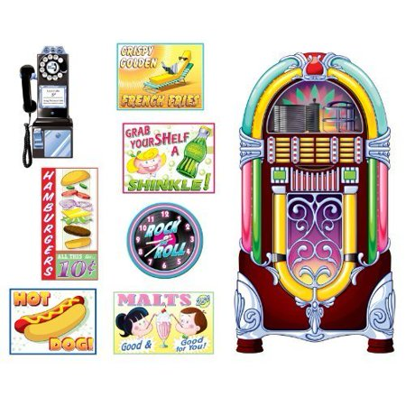 Soda Shop Signs & Jukebox Props Party Accessory (1 count) (8/Pkg) (Party Shops)