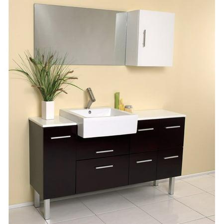 (Fresca Serio Espresso 57-in.  Modern Single Bathroom Vanity with Mirror & Side Cabinet FVN6143ES)