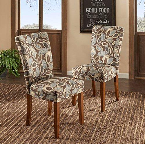 Attrayant ModHaus Modern Leaf Print Fabric Parsons Style Dining Side Chairs | Wood  Finish Wooden Legs