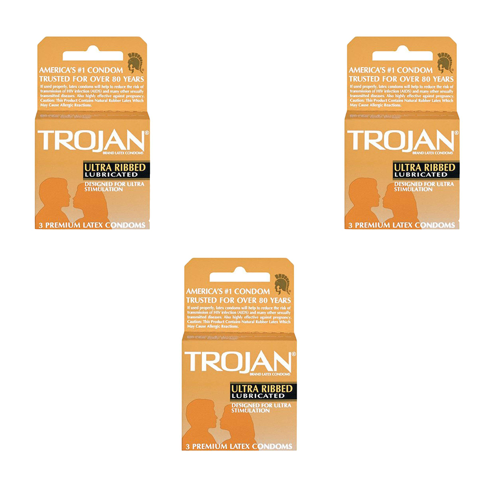 Trojan Ultra Ribbed Condoms Pack Of 3