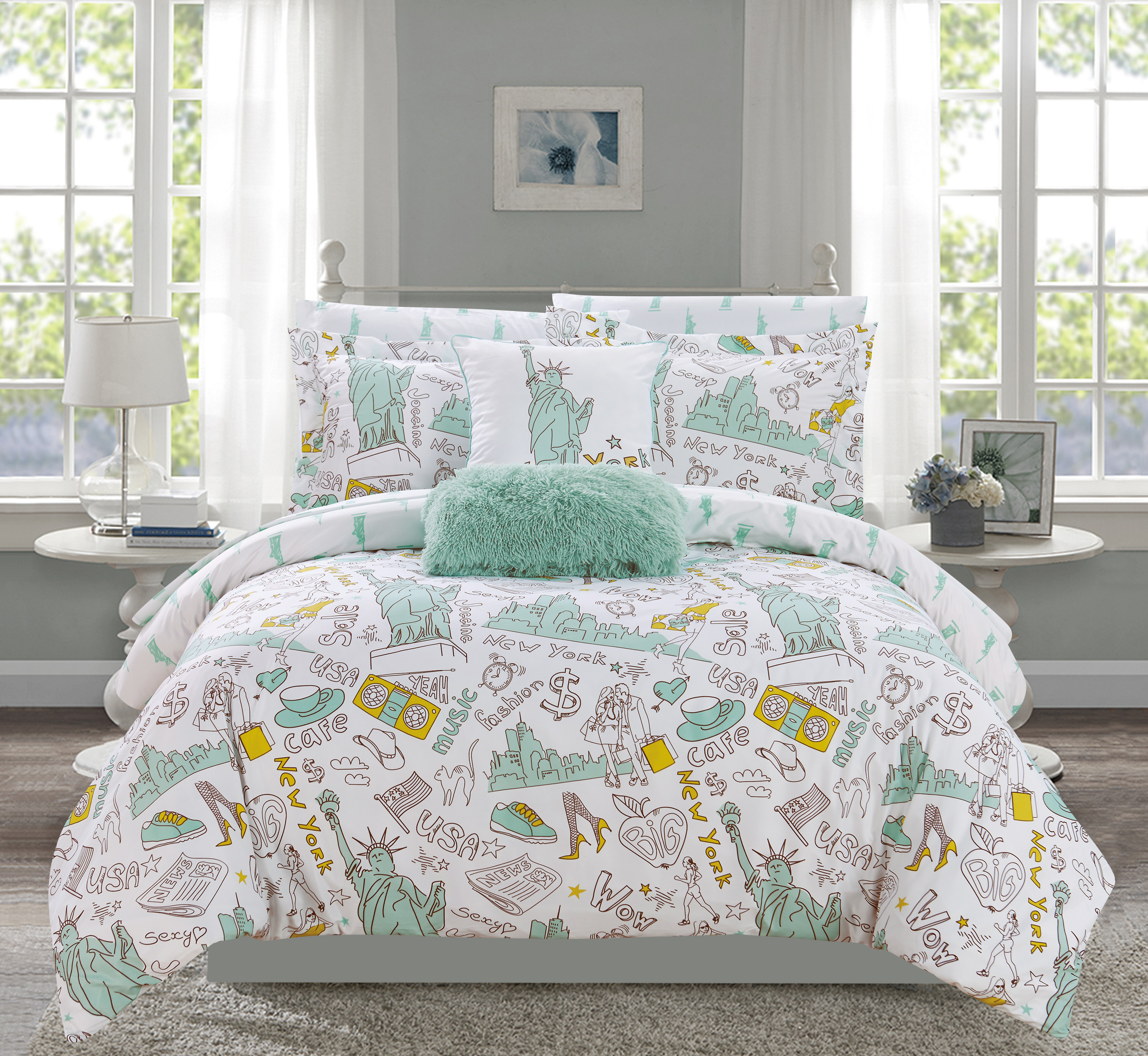 Chic Home Ellis 9 Piece Reversible New York Design Comforter Set