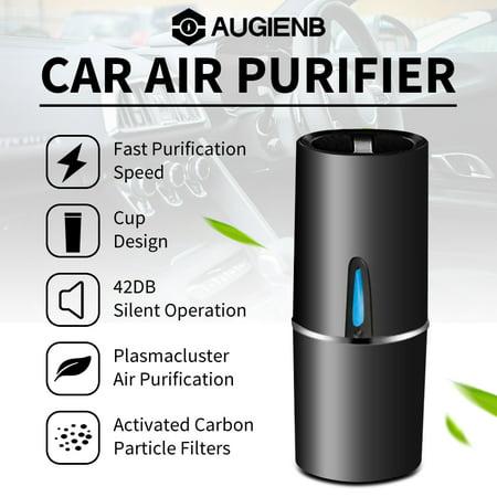 AUGIENB Car Air Purifier Portable Ionizer Car Air Freshener Cup Shape Plasma Odor Except Formaldehyde Second-hand Smoke / Dust / Odor / Harmful (Best Air Purifier For Second Hand Smoke)