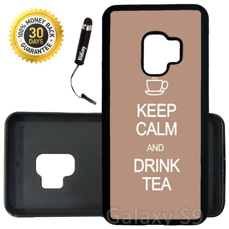 Custom Galaxy S9 Case (Keep Calm Drink Tea) Edge-to-Edge Rubber Black Cover Ultra Slim | Lightweight | Includes Stylus Pen by Innosub