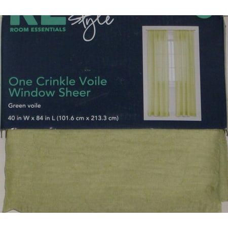 Crinkle Voile Curtain - Sheer Green Crinkle Voile Window Panel 84