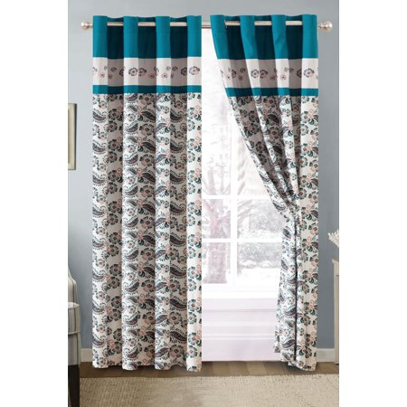 4-Pc Dally Floral Paisley Embroidery Curtain Set Teal Blue Gray Ivory Valance Drape Sheer Liner Metal Grommet