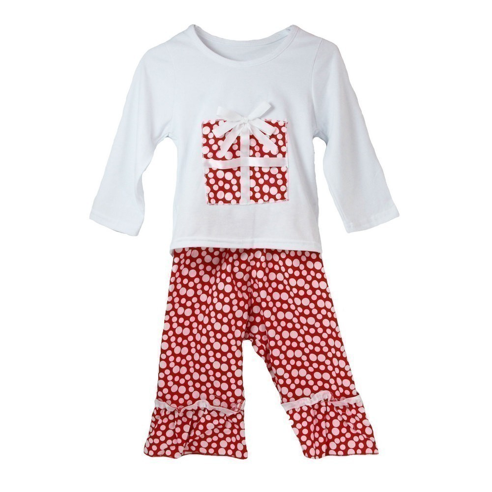 Dress Up Dreams Boutique Little Girls White Red Polka Dots Boutique Christmas Pant Outfit Set 12M - 6
