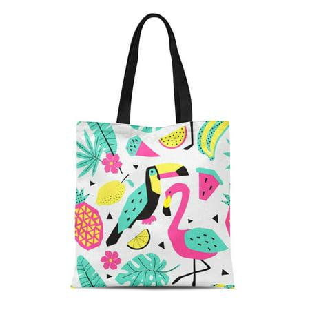 NUDECOR Canvas Tote Bag Colorful Fun Funny Summer Tropical Pattern Birds Creative Reusable Shoulder Grocery Shopping Bags Handbag - image 1 of 1