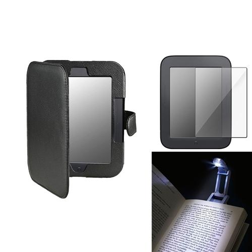 "Insten For Nook 2 Simple Touch Black Leather Case+Clear Reusable Screen Proetctor 6"" LCD Cover Guard+Clip LED Light"