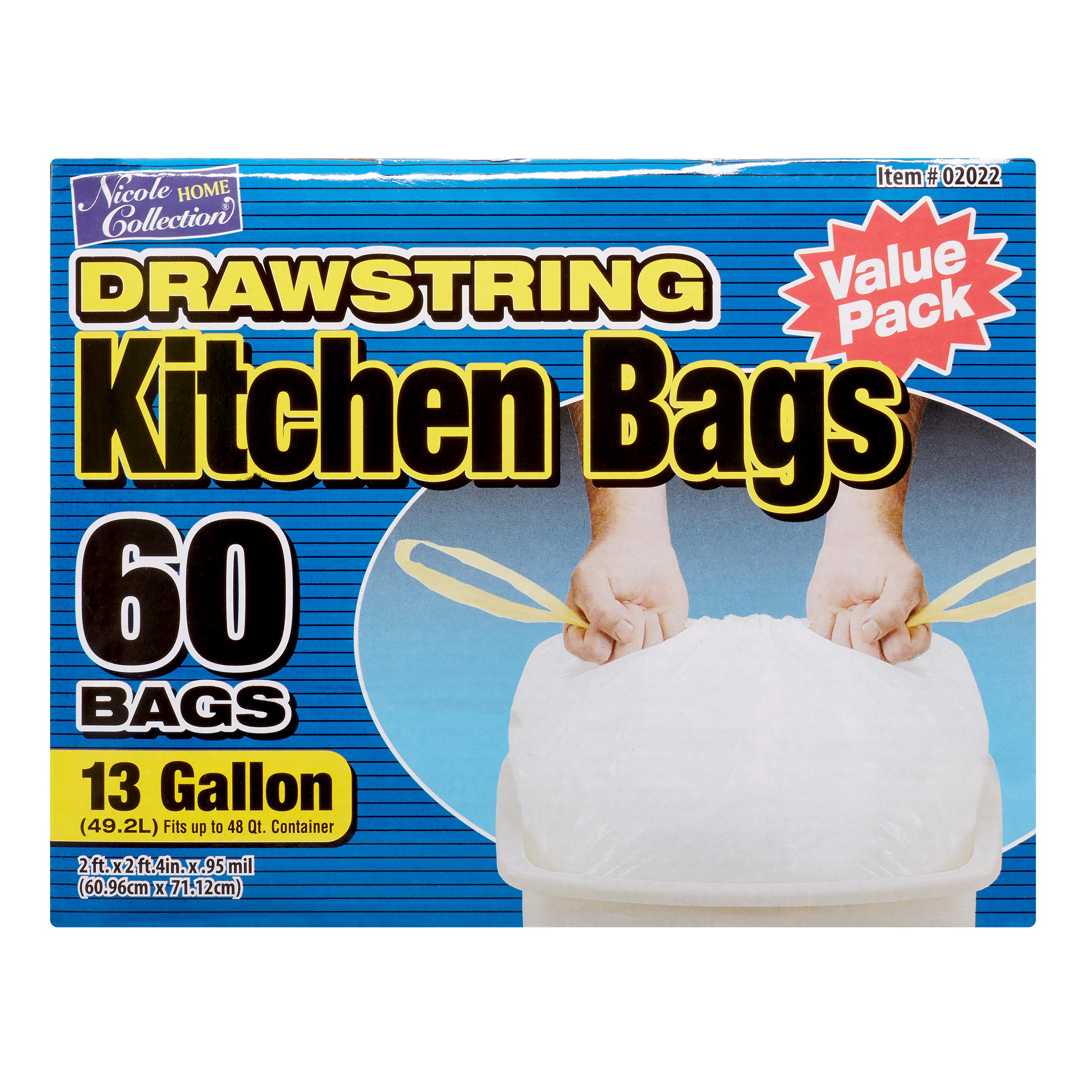 Nicole Home Collection Kitchen Drawstring Trash Bags, 13 Gallon, White, 60 Ct