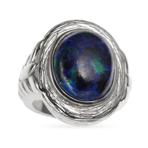 Bonhuer West Holding Sterling Silver 8.79ct 16x12mm Oval Azurite Malachite Textured Ring R40064XN52R05