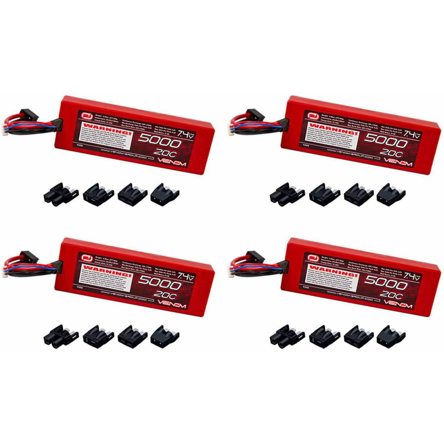 Venom 20C 2S 5000mAh 7.4V Hard Case LiPo Battery with Universal Plug (EC3/Deans/Traxxas/Tamiya) x4 Packs