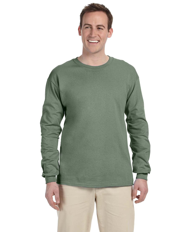 FoTL 4930 Mens Heavy Cotton Long-Sleeve Tee M Chocolate 2 Pack