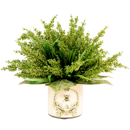 Creative Displays, Inc. Green Heather in Decoupage Pot