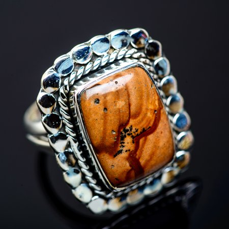 Picture Jasper Cabochon Ring (Large Picture Jasper Ring Size 8.75 (925 Sterling Silver)  - Handmade Boho Vintage Jewelry RING954843)