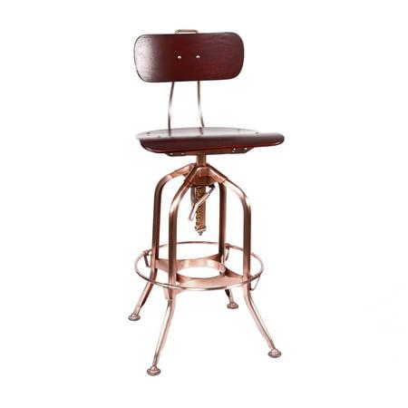 Superb Toledo Red Walnut Vintage Copper Adjustable High Back Bar Chair 25 29 Inch Short Links Chair Design For Home Short Linksinfo