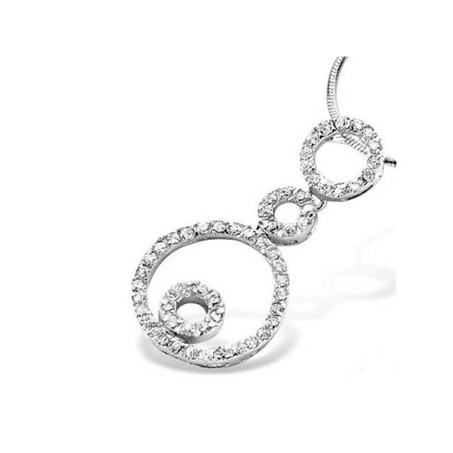 CZ PEN1594 Triple Circle C. Z.  Diamond Sterling Silver Pendant Ending with two nested open circles