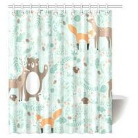 MYPOP Girls Boys Kids Baby Lover Decor Shower Curtain, Woodland Forest Animals Trees Birds Bear Fox Deer Rabbit Deco Bathroom Shower Curtain Set with Hooks, 60 X 72 Inches
