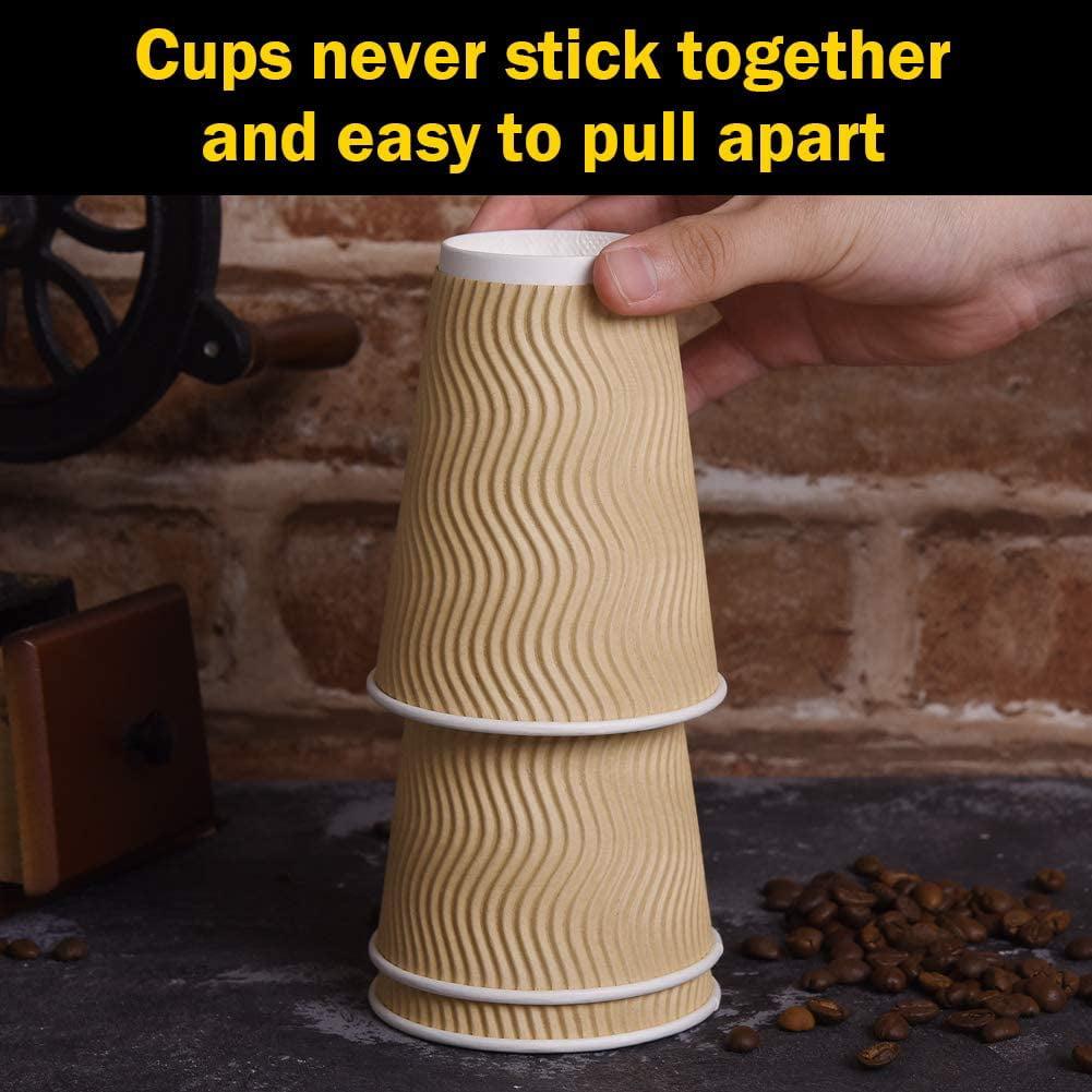 100 x 12oz Brown Paper Coffee Cups Kraft Ripple 3 Ply White Lids