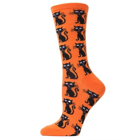 MeMoi Scary Cat Crew Socks | Women's Fun Halloween Novelty Socks One Size 9-11 / Celosia Orange MF6 1101
