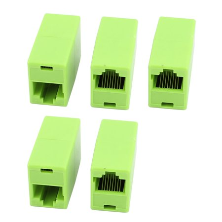 5 Pcs RJ45 8P4C Dual Port Network Straight Through Cable Joiner Coupler