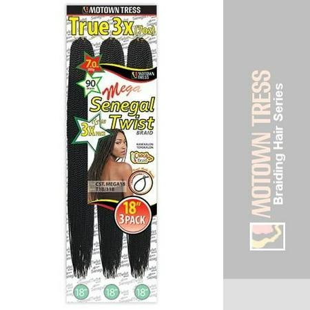 "18"" 3 Pack Mega Crochet Senegal Twist Braid Kanekalon Futura Fibre Hair-#1B Off Black - image 1 of 1"