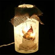 DecorFreak Lighted Glass Jar - With Snowman