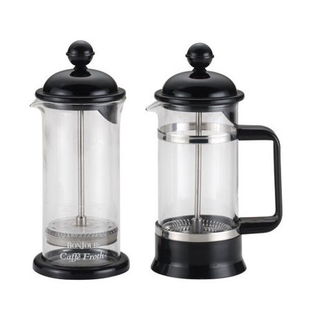 BonJour Coffee Borosilicate Glass French Press & Milk Frother Set, 12.7-Ounce, La Petite,
