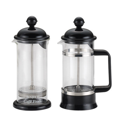 BonJour Coffee Borosilicate Glass French Press & Milk Frother Set, 12.7-Ounce, La Petite, Black