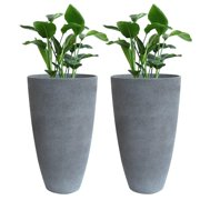 Tall Planters 20 Inch 2 pack Round Resin UV Resistant Flower Plant Pot with Drainage Holes, Patio Garden Home Decor, Gray