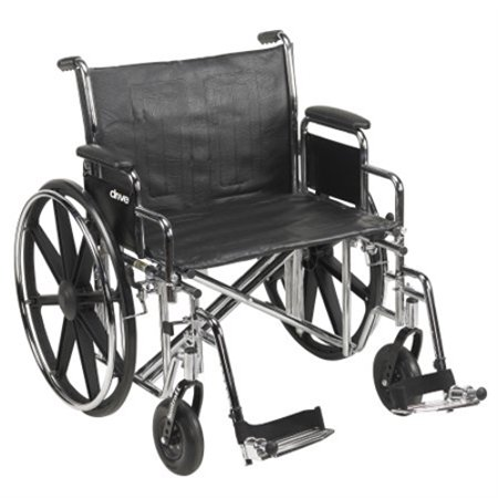 "24"" Bariatric Wheelchair, Steel Frame, Black, Detachable Desk Arm, Swing Away Foot Rest, 450 Lb. Capacity"