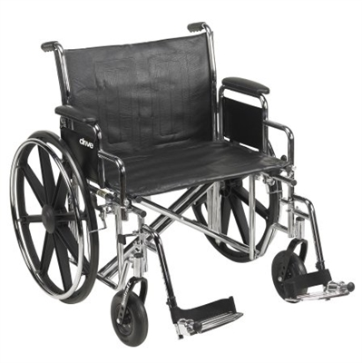 "24"" Bariatric Wheelchair, Steel Frame, Black, Detachable Desk Arm, Swing Away Foot Rest, 450 Lb. Capacity"