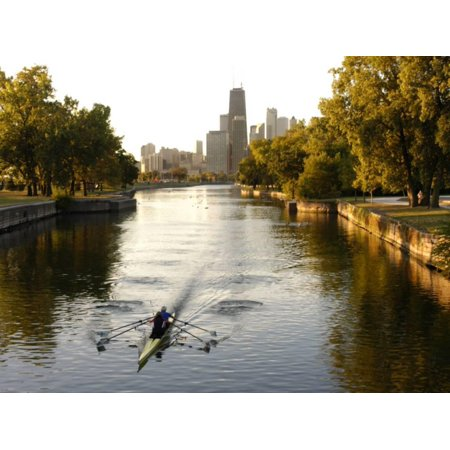Rowers in Lincoln Park lagoon at dawn, Chicago, Illinois, USA Print Wall Art By Alan Klehr - Halloween Parties In Lincoln Park Chicago