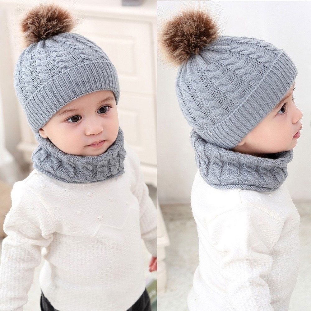 Toddler Kids Boy Girl Baby Warm Winter Knitted Crochet Beani-e Hat Cap+Scarf Set