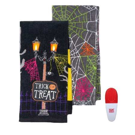 Trick or Treat Spiderweb Halloween 2 Pk Kitchen Towels & Chip Clip-3 Piece Multi-Pack - Main Dishes For Halloween