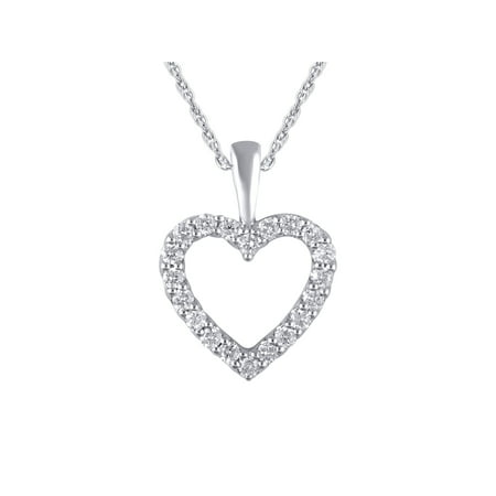 14K White Gold 1/4 Carat Total Weight Genuine Diamond Classic Heart Pendant with 18