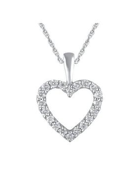 "14K White Gold 1/4 Cttw Genuine Diamond Heart Pendant Necklace,18"""