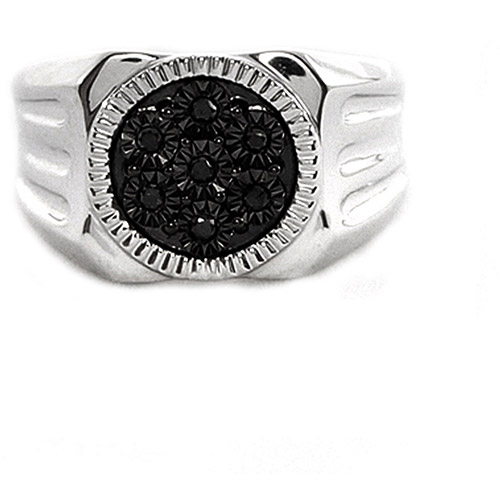Men's Black Diamond Accent Circle Sterling Silver Ring