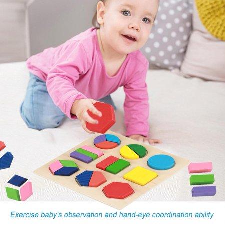 Greensen Bâtiment géométrique jouet, blocs de construction en bois, enfants en bois éducatif jouet ensemble géométrique bloc construction Puzzle bébé outil d'apprentissage précoce - image 1 de 8