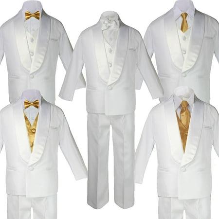 Baby Teen White Satin Shawl Lapel Suits Tuxedo GOLD Satin Bow Necktie (Lapel Tuxedo Package)