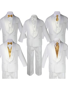 1ba0bcf40ec0 Product Image Baby Teen White Satin Shawl Lapel Suits Tuxedo GOLD Satin Bow  Necktie Vest