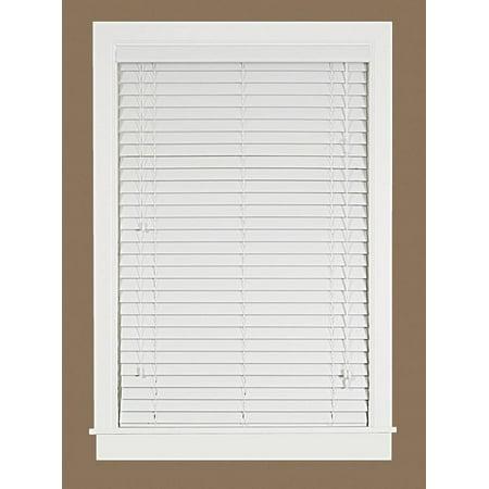 Mini Window Blinds 2 Inch Faux Wood Grain Plantation Blind White