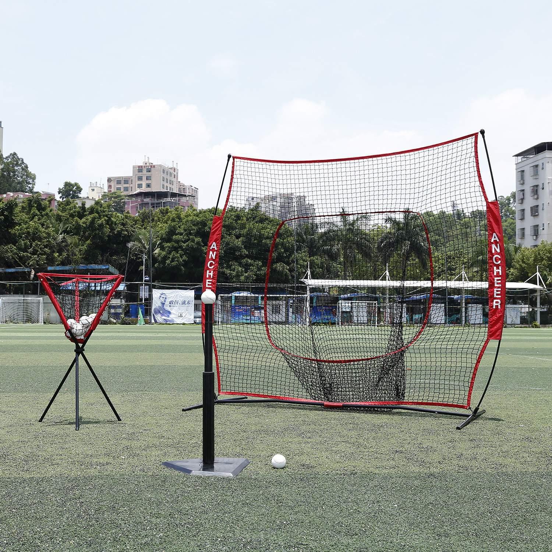 7X7' Baseball Softball Practice Hitting Batting Training Net Bow Frame Red Bag SMT by