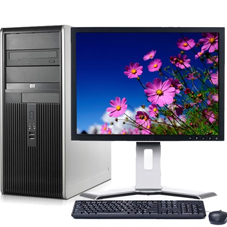HP Desktop Computer Bundle Tower PC Core 2 Duo Processor 4GB RAM 160GB Hard Drive DVD-RW Wifi with Windows 10 and a 19