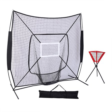 UBesGoo 7' x 7' Portable Baseball Softball Practice Net, with Carry Bag & Ball Caddy, for Practice Hitting, Pitching, Batting, Fielding, Backstop, Training Aid, Black