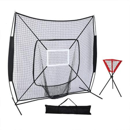 Portable Baseball Backstop - UBesGoo 7' x 7' Portable Baseball Softball Practice Net, with Carry Bag & Ball Caddy, for Practice Hitting, Pitching, Batting, Fielding, Backstop, Training Aid, Black