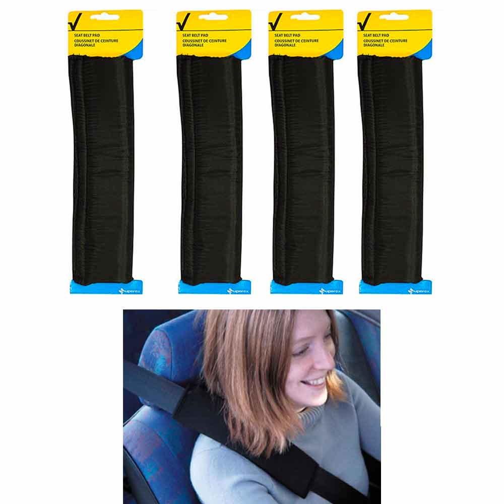 4 Car Safety Seat Belt Shoulder Pads Cover Cushion Harness Comfortable Pad Black
