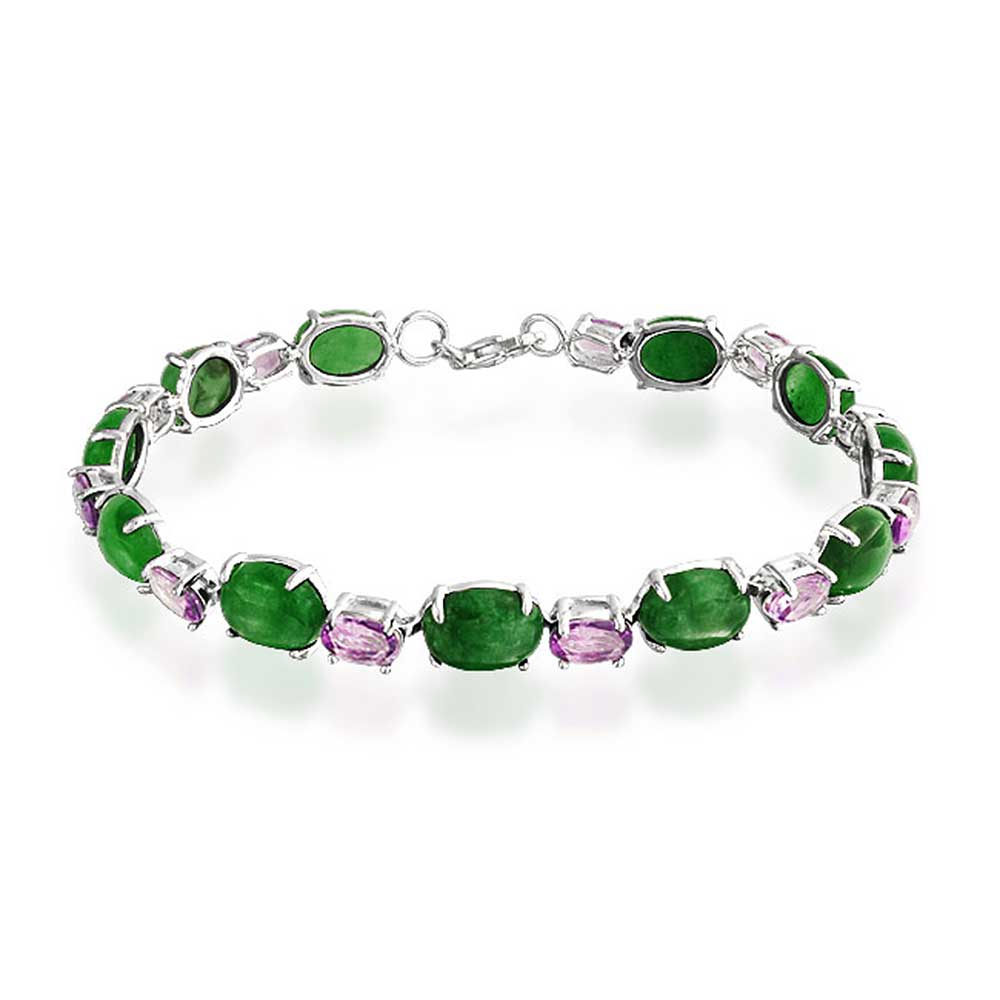 Bling Jewelry Oval Green Jade Amethyst Tennis Bracelet 925 Silver 7.5in