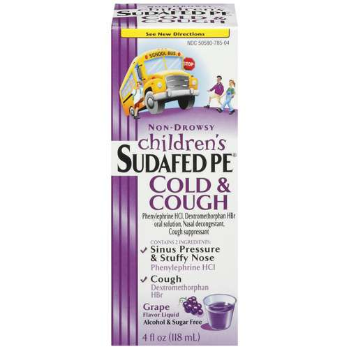 Children's Sudafed Pe Non-Drowsy Grape flavor Liquid Cold & Cough 4 fl oz